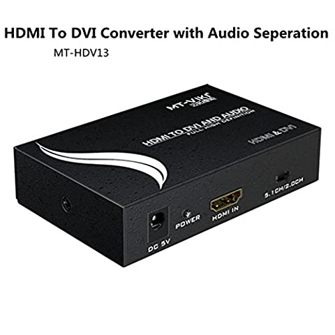 1080P HDMI zu DVI Konverter Adapter, Koaxial SPDIF 3,5mm Klinke Audio Ausgang, Unterstützung 2.0Ch/5.1CH Schalter für HD Beamer TV Blu-Ray DVD PS4Xbox360