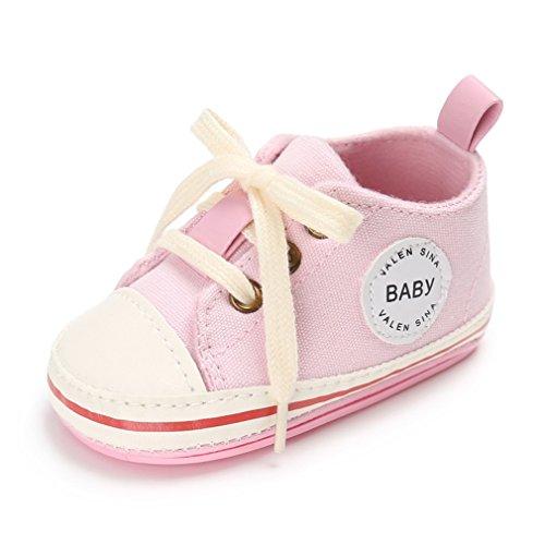 Nette Baby-Segeltuch-Turnschuh-Rutschfeste Weiche Trainer-Schuhe 0-18M (L: 12-18 Monate, Hellrosa)