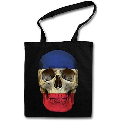 CLASSIC FRANCE SKULL FLAG Hipster Shopping Cotton Bag Cestas Bolsos Bolsas de la compra reutilizables - Bandera cráneo Schädel Banner Fahne Frankreich Francia