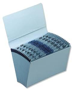 5 Star Premier De Luxe Expanding File with Flap 16 Pockets A-Z 12 Months 1-31 Foolscap Blue