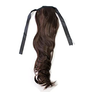 New Chic Tie Up Long Wavy Ponytail Synthetic Hair Extensions - Chocolate Brown