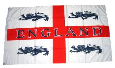 MM England 4 Löwen Flagge/Fahne, wetterfest, mehrfarbig, 150 x 90 x 1 cm, 16292