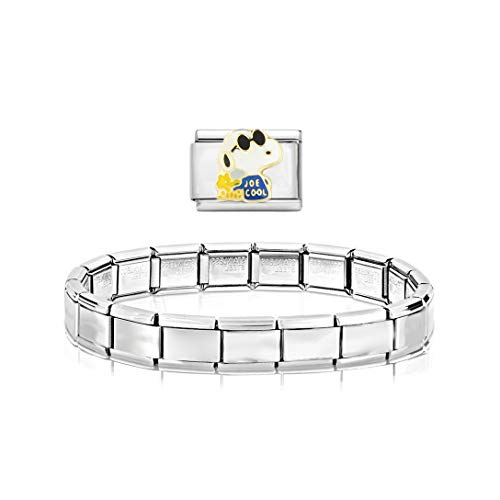 AKKi jewelry Glieder Armband Classic 2 er Set Angebot - in Edelstahl Italy Italian Charms mit anhänger schmuck composable kompatibel Snoopy (Armband Snoopy Charms)