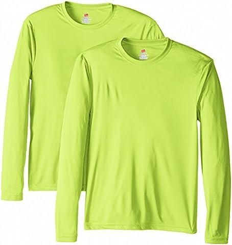 Hanes Lot de 2 T-shirts à manches longues Cool Dri UPF50+ pour homme - vert - X-Large