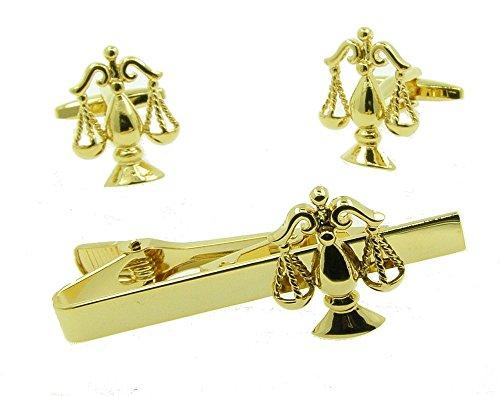 Manschettenknöpfe und Krawattennadel im Set, Design: Waagschale der Gerechtigkeit, goldfarben