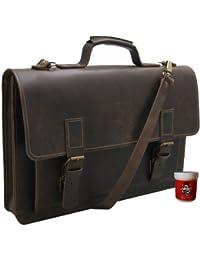 FREIHERR von MALTZAHN 17,3 Zoll Notebooktasche Aktentasche PYTHAGORAS aus BIO-Leder inkl. Lederpflege