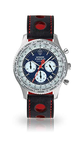 DETOMASO Firenze Racing Mens Watch Chronograph Analogue Quartz Black Racing Leather Strap Blue Dial DT1069-A-836
