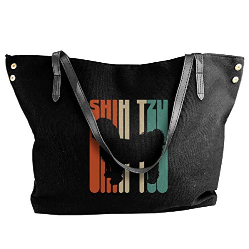 shuangshao liu shliu-1 Schultertasche Bag Vintage Shih Tzu Canvas Schultertasche Bags Casual Handbag For Women Black