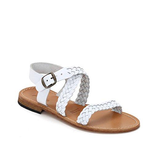 Alesya by scarpe&scarpe - sandali bassi con intreccio, in pelle - 36,0, bianco