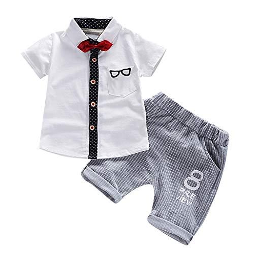 Zylione Jungen Kleidung Set Kinder Baby Kurzarm Fliege Brille Gedruckt Hemd + Hose Zweiteilige Kindertagesgeschenk