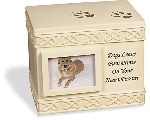 Unbekannt AngelStar Box Urne Hundepfote mit kleinem Fotorahmen, Metall, Mehrfarbig, 16 x 20 x 16 cm -