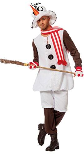 Karneval-Klamotten Schneemann Kostüm Erwachsene Herren Herren-Kostüm mit Hut und Schal Weihnachten Karneval Größe 48 (Schneemann Kostüm Für Erwachsene)