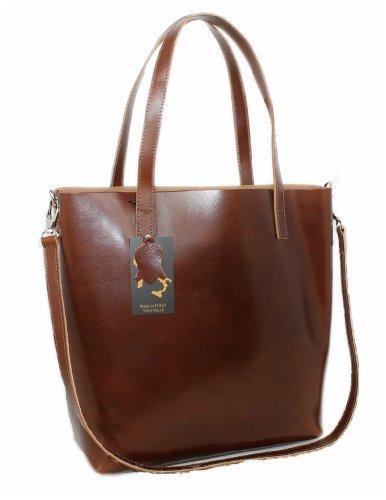 Luxus Beutel Ledertasche MARRONE Tasche XXL Shopper Schultertasche Leder 01769