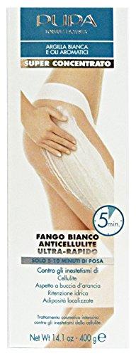 Pupa fango bianco anti-cellulite ultra-rapido super concentrato con argilla bianca e oli aromatici maxi formato 400 gr