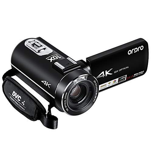 4K Camcorder, ORDRO 4K UHD Camcorder/Videokamera mit 24 MP, 1080P 30FPS 10x Opt. Zoom, 3.1''IPS Wi-Fi Digitale Video Kamera mit Fernbedienung Digital-kamera 10 X Zoom