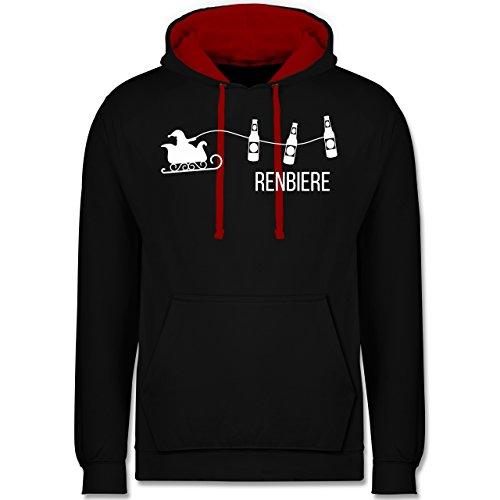 Typisch Männer - Renbiere - Kontrast Hoodie Schwarz/Rot