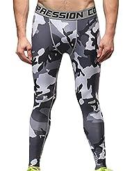 Hombre Mallas Térmicas de Compresión de Camo Deportes Running Pantalones Leggings