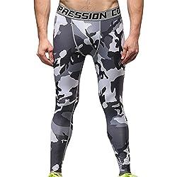 Hombre Mallas Térmicas de Compresión de Camo Deportes Running Pantalones Leggings M