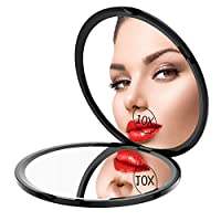 Gospire Pocket Makeup Mirror for Travel, 1X/10X Double Sides Magnifying Compact Handbag Cosmetic Mirror, 4 Inch Ultra-thin Handheld Round Foldable Portable Mirror for Women