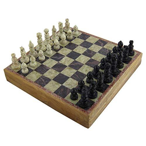 RoyaltyRoute handgeschnitzt Speckstein Schachbrett und Stücke Spiel Set 20 x 20 cm