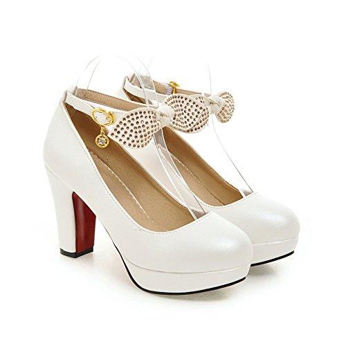 AgooLar Damen Weiches Material Rund Zehe Hoher Absatz Schnalle Eingelegt Pumps Schuhe Weiß