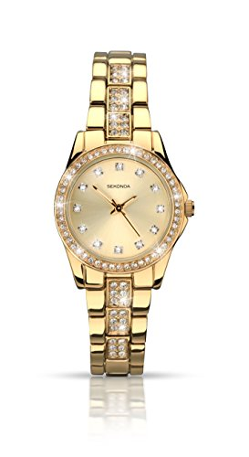 - 41m7QCk 2B8vL - Sekonda Women's Quartz Watch with Gold Dial Analogue Display and Gold Alloy Bracelet 2020.27
