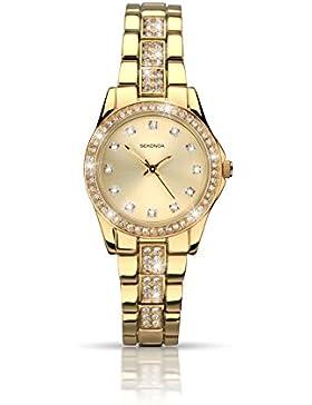 Sekonda Damen Armbanduhr mit Gold Zifferblatt Analog-Anzeige und Gold Legierung Armband 2020.27