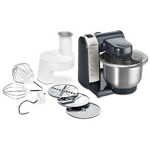 Bosch MUM4 MUM48A1 Küchenmaschine (600 W, 3 Rührwerkzeuge aus Edelstahl, spülmaschinengeignet, Rührschüssel 3,9 Liter, max. Teigmenge: 2,0kg, Durchlaufschnitzler 3 Scheiben) schwarz