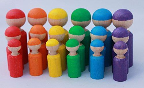 18 Holzfiguren Abstufungen Regenbogen Kind Großfamilie Abstufung Größen Farben lernen Montessori...