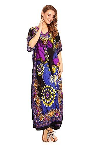 Looking Glam Neu Damen Überdimensional Maxi Kimono Kaftan Tunika Kaftan Damen Top Freie Größe,Blau,38-44(Taille Fabricant: 27) - Kaftan Tunika Top
