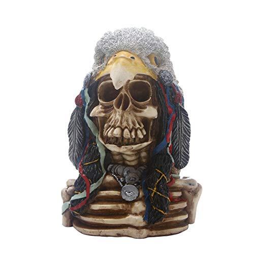 FIZZENN Resin Craft Native American Indian Skull mit Eagle Head Gothic Statue mit Kopfschmuck Figur Friedhof Beinhaus Spooky Decor -