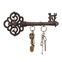 Comfify Decorative Wall Mounted Key Holder | Vintage Key With 3 Hooks | Wall Mounted | Rustic Cast Iron - With Screws And Anchors