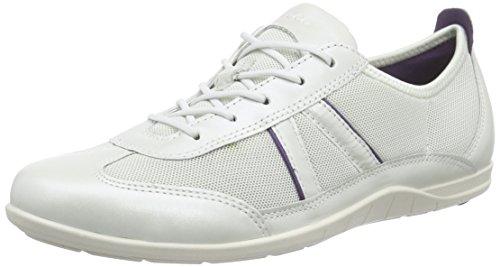 Ecco BLUMA Damen Derby Schnürhalbschuhe Weiß (WHITE/SHADOWWHITE/CROWNJEWEL 59537)