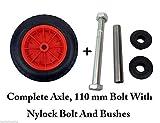 Sintética 35,56 cm a prueba de pinchazos rojo cilindro de carretilla neumático de 3,50 - 8 relleno de espuma + eje