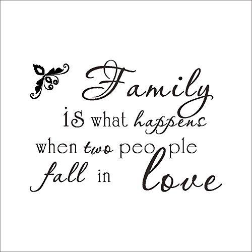 Familie ist, was passiert, wenn zwei Menschen sich in Liebe verlieben Wandaufkleber schwarz Monogramm englische Worte Inspiration Wandtattoo Wandkunst