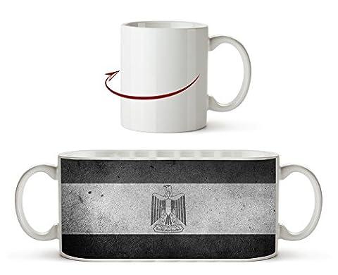 Ägyptische Flagge Effekt: Schwarz/Weiß als Motivetasse 300ml, aus Keramik weiß, wunderbar als Geschenkidee oder ihre neue Lieblingstasse.