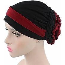 Turbante musulmán elástico para pacientes de quimoterapia, cáncer, pérdida de cabello, pañuelo para