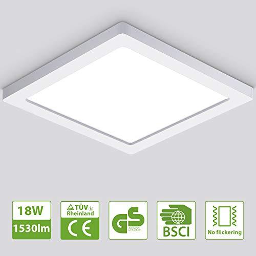 Oeegoo LED Deckenleuchte 13mm, 18W Flimmerfreie Deckenlampe 1530lm (100W Glühlampe Ersatz), Led Flurlampe, Einbauleuchte, Wohnzimmerlampe Neutralweiß 4000K -