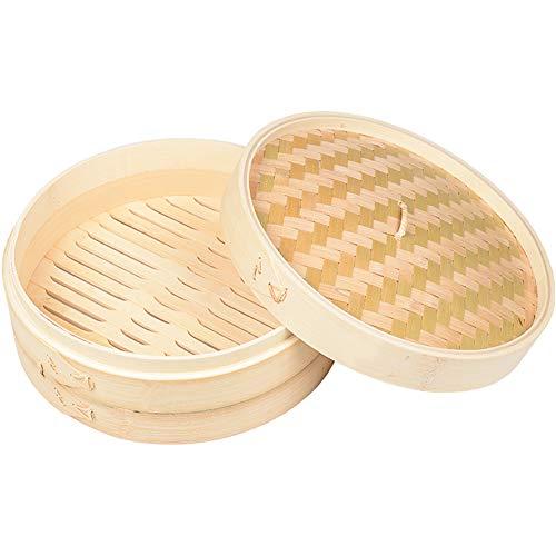 Bambusdämpfer, Bamboo Steamer Set,2 Ebenen/inkl Deckel/25.5 cm Durchmesser,Handgefertigt/Dampfgarer aus Bio Bambus,Ideal zum Kochen von Dim Sum und Gemüse Reis Fisch und Fleisch,20cm