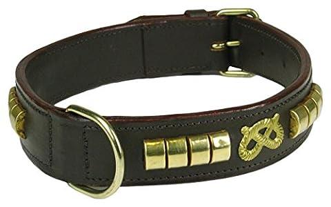 Staff Collier pour chien Staffordshire Bull Terrier en cuir marron motif en laiton Staff endos rembourré en daim - 55cm