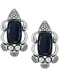 Zaveri Pearls Semi Precious Blue Sapphire Stone Oxidised Stud Earring - ZPFK5758