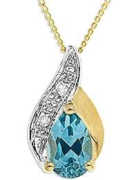 Collier - A94TN3510SYNAQ - Collar de mujer de oro amarillo (9k) con 1 aguamarina