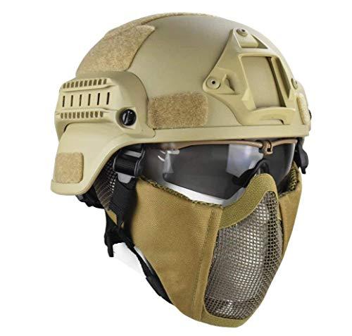 QZY Taktische Helme mit Maskengau für CS Airsoft Paintball Army War Game Motorrad-Jagd Solid Farbe Fast Helm,Brown