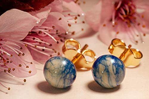 Orecchini effetto Marmo in vetro di Murano, Creazioni Pireta, placcato in oro 18k, anallergico, fatto a mano, hand made, Made in Italy, orecchino a bottone, regalo perfetto per lei.