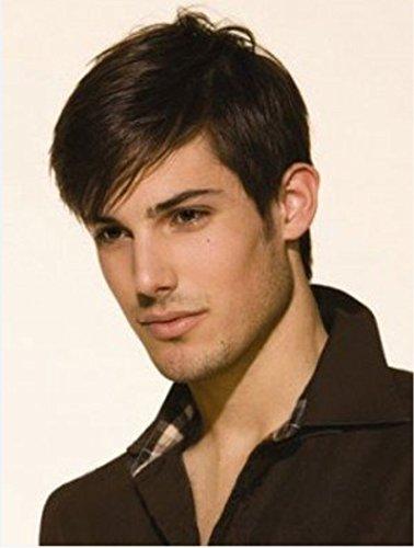 perruque de mode à court perruque de cheveux de fil à haute température des hommes européens et américains a augmenté à court moelleux cheveux bouclés net
