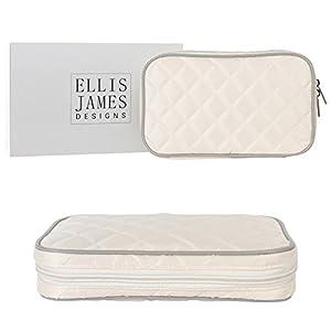 Ellis James Designs Schmucktasche für Reisen – Gestepptes Schmucketui – Weich gepolsterte Schmuckaufbewahrung