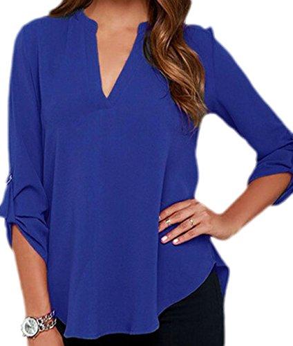 erdbeerloft - Damen lockere Bluse mit V-Ausschnitt, 34-44, Viele Farben Blau