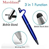Marshland 4 in 1 Function Pen with Smartphone Stand Holder, Screen Wipe and Ballpoint Pen, Writing Pen for All Smartphones (Black)