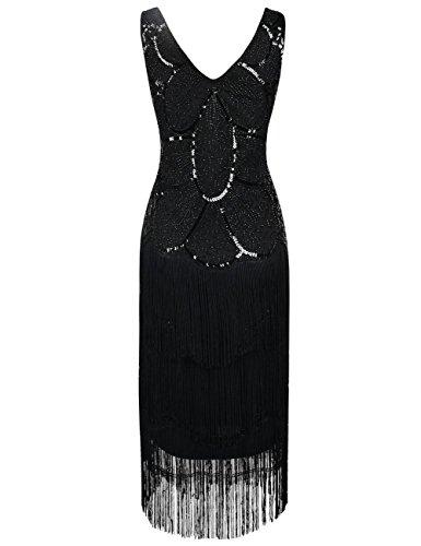 Kayamiya Damen 1920er Vintage Inspirert Perlen Pailletten Verschönert Fransen Flapper Kleid Elegantes Schwarzes