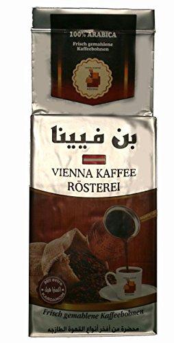 Vienna Kaffee Rösterei - Mokka Kaffee fein gemahlen mit Extra Kardamom nach arabischer Art (200g) (Arabische Art)